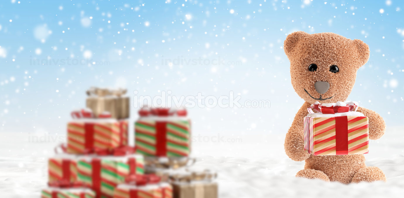fluffy teddy bear with christmas present. snow background 3d-ill