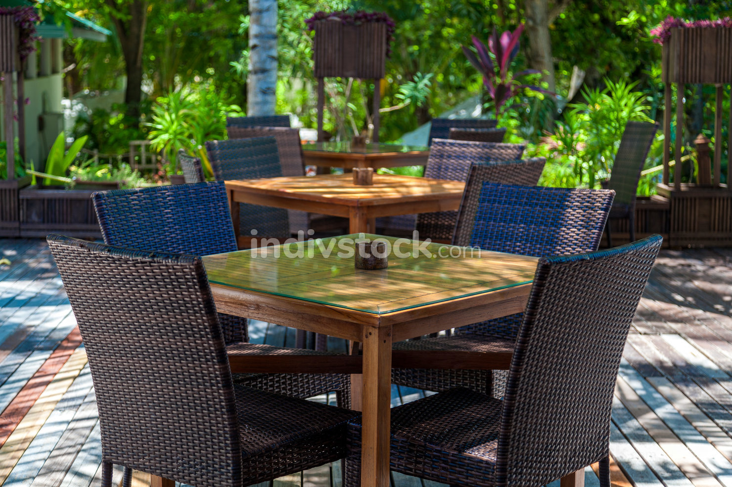 Furniture with chairs and tables in a cafe