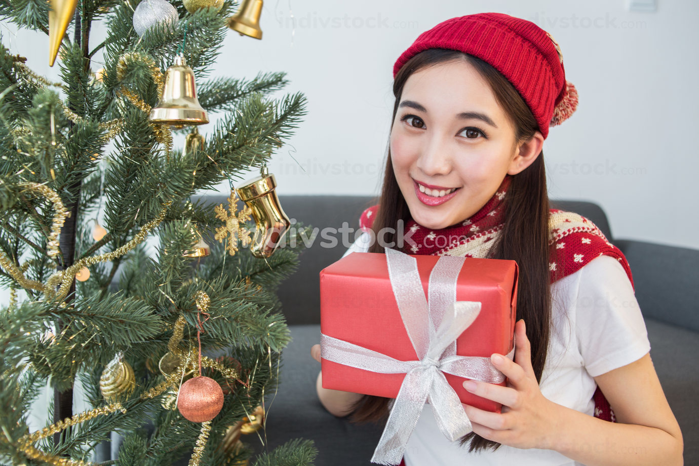 Girl receive gifts Merry Christmas