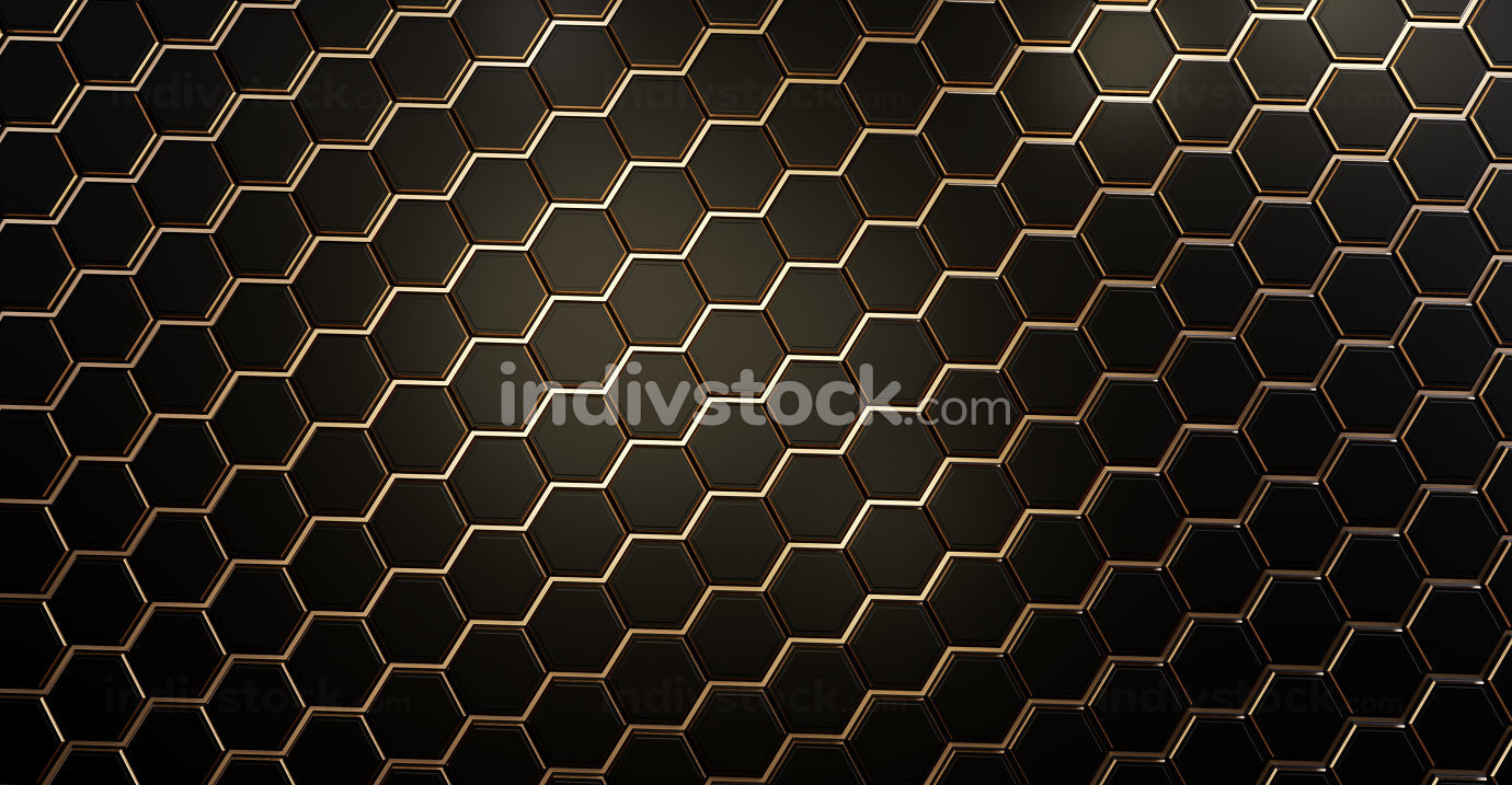 golden dark hexagonal grid background 3d-illustration