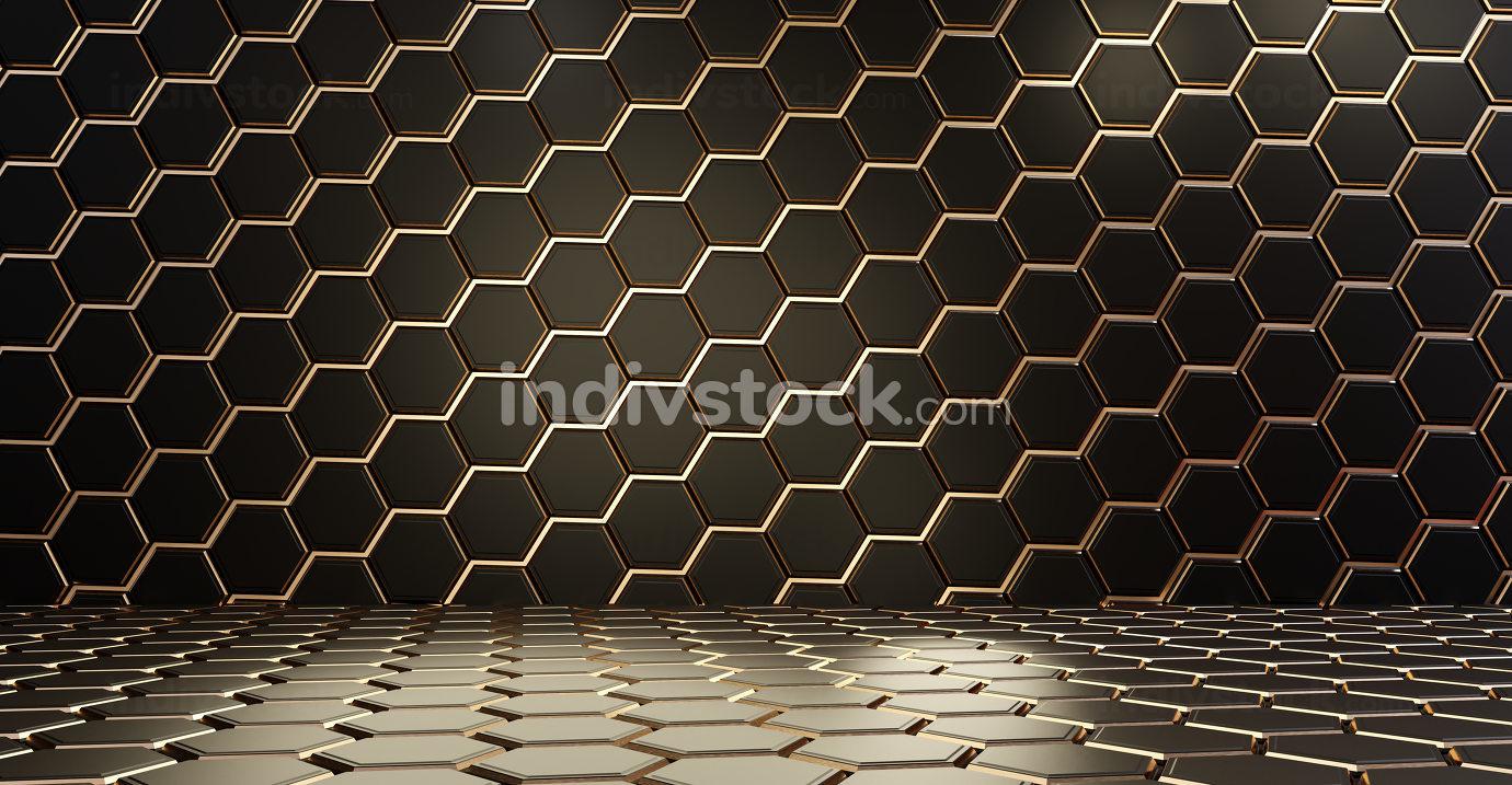 golden dark hexagonal grid background 3d-illustration