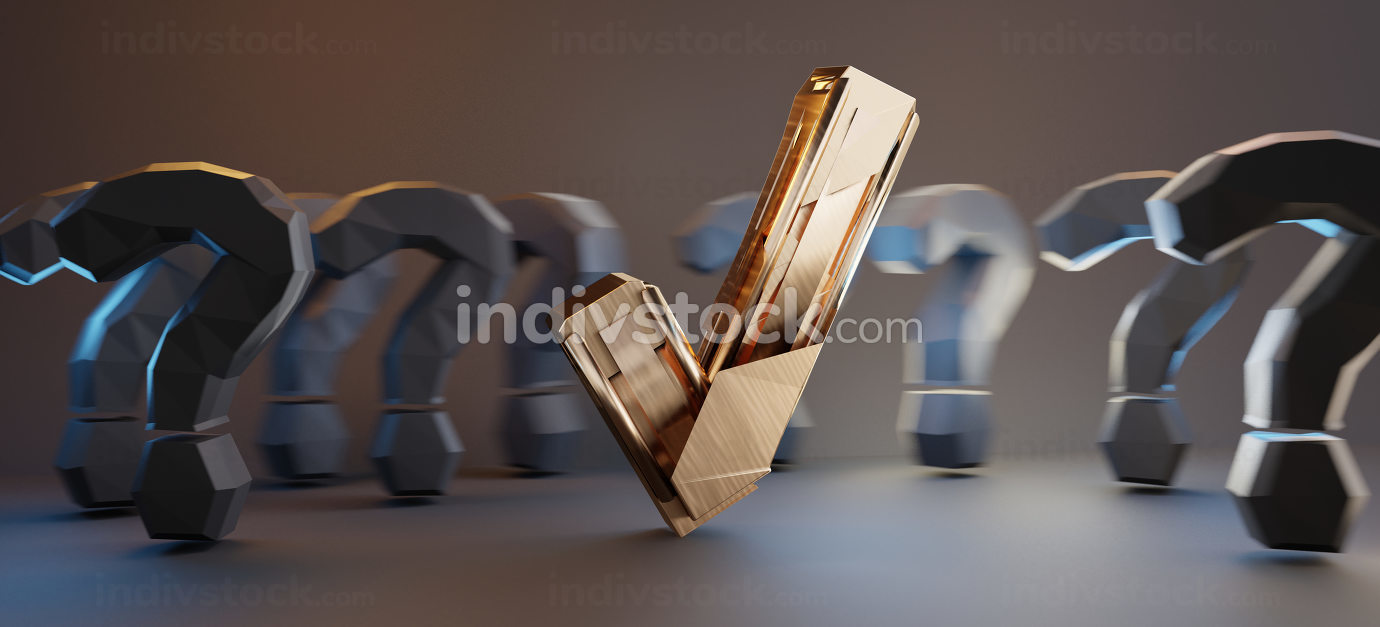 golden tick check and question marks 3d-illustration