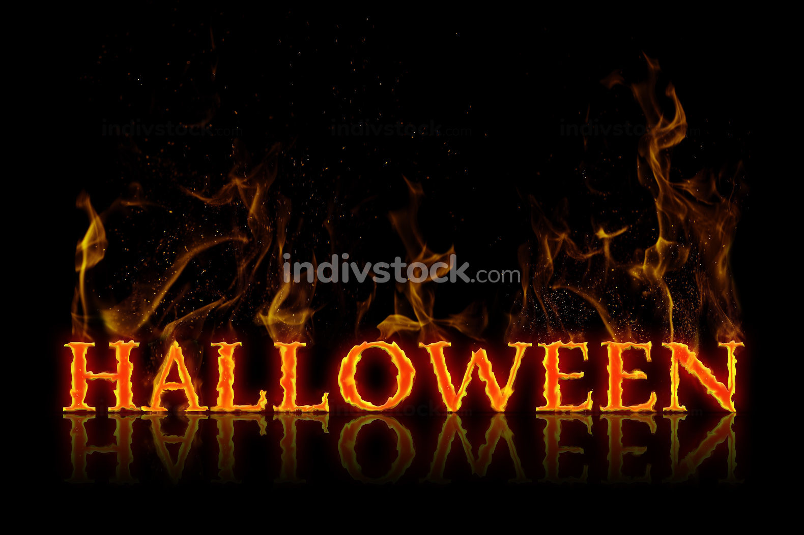Halloween lettering in english language burning on fire