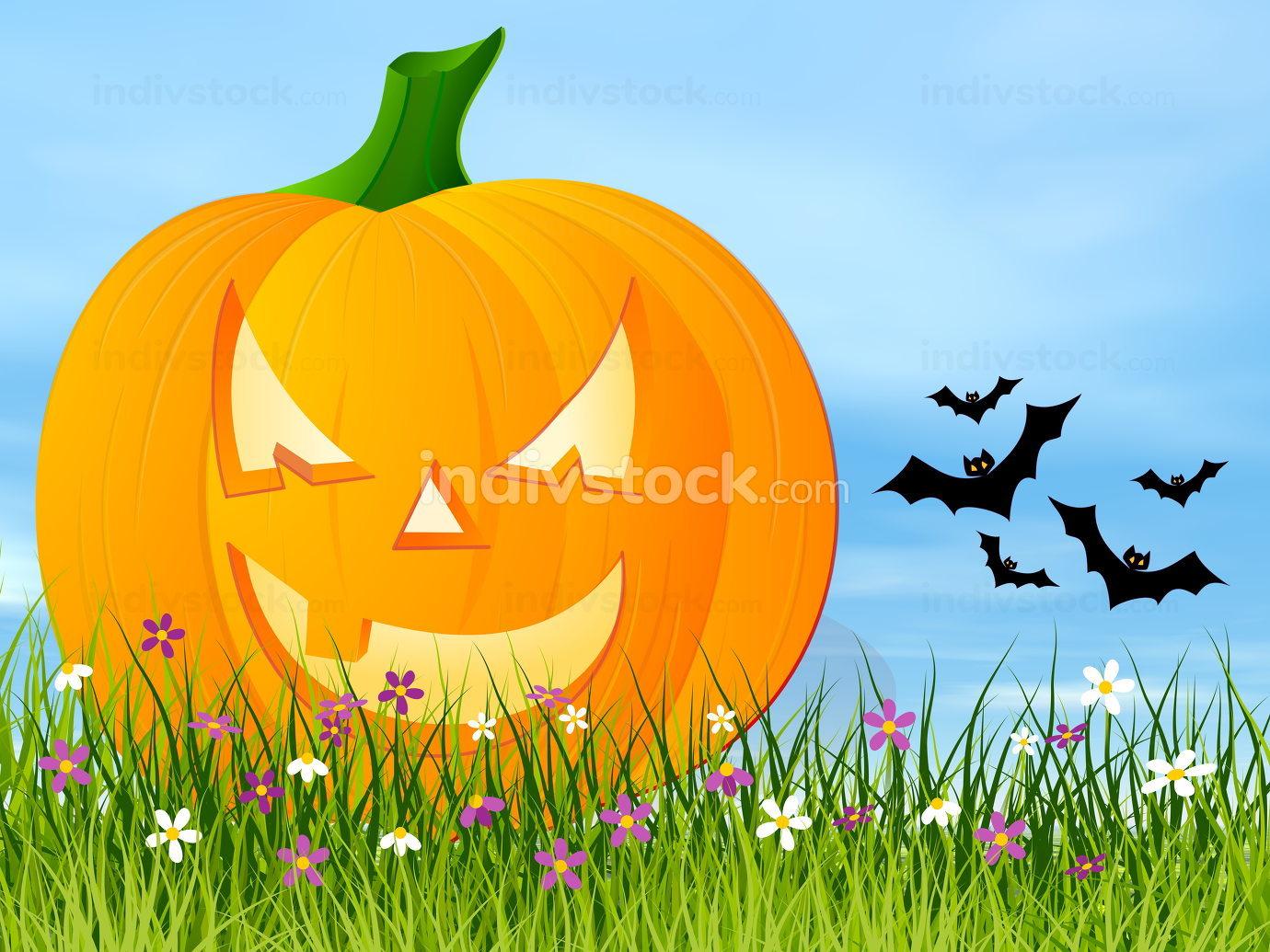 Halloween pumpkin face - 3D render
