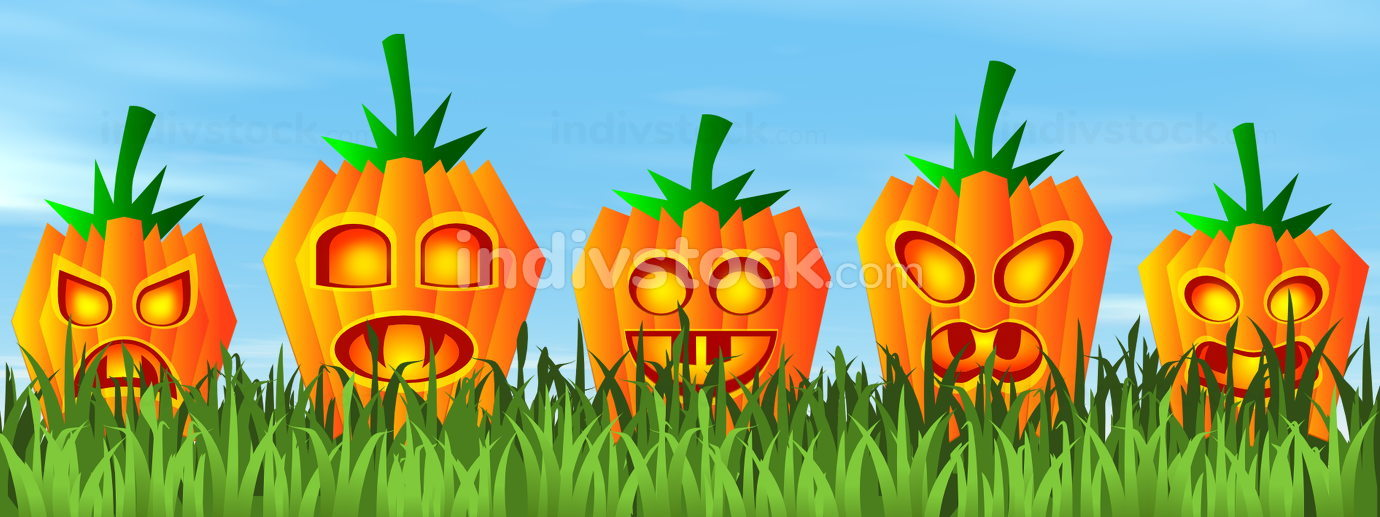 Halloween pumpkin faces - 3D render
