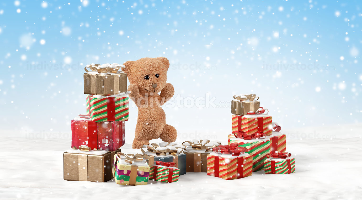 happy jumping teddy bear with christmas presents outdoor in the
