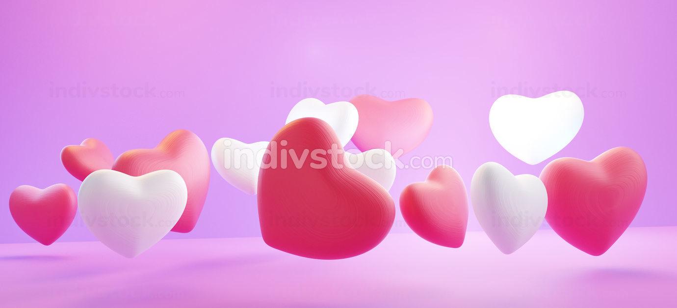 hearts red white pink design background 3d-illustration