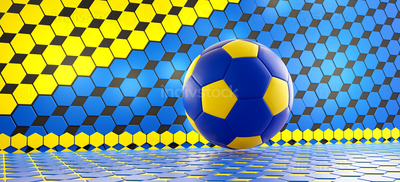 hexagonal background and soccer football ball in the colors of t
