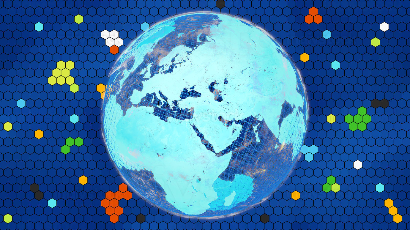 hexagonal grid design and bright vibrant planet earth. focus on