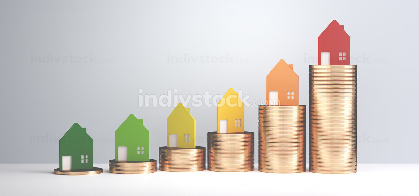 increasing real estate 3d-illustration light grey backdrop desig