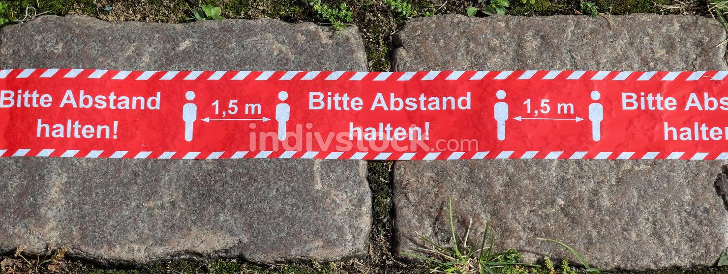 Keep distance symbol in german language. Bitte Abstand Halten! 1
