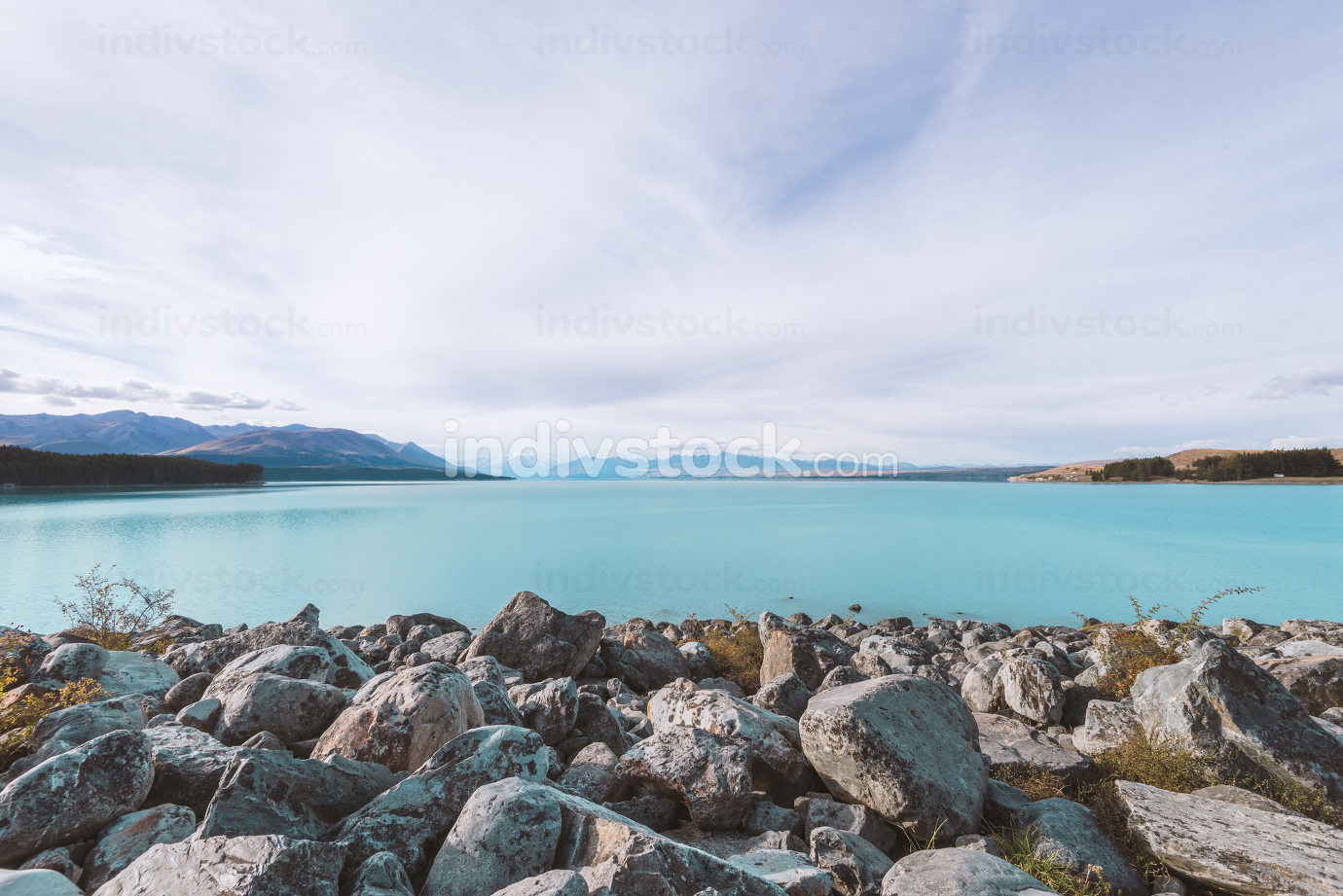 landscape of lake in summer day