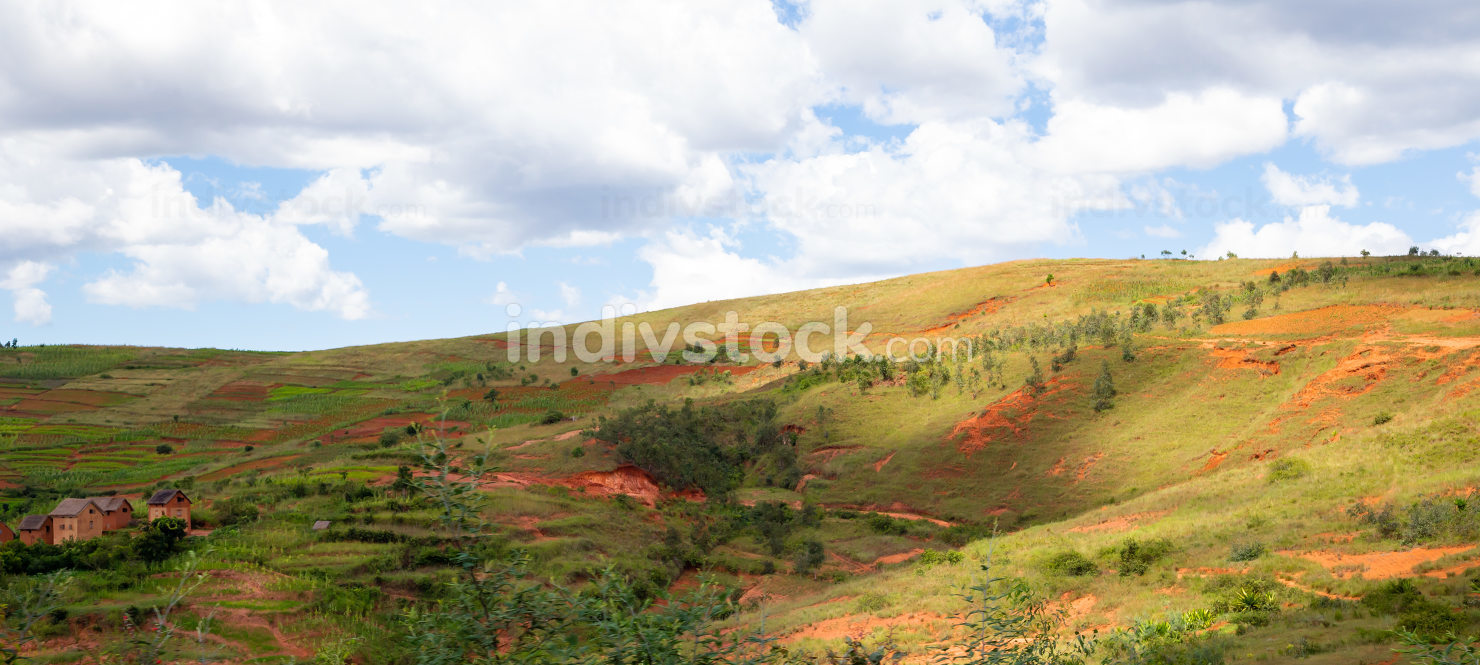 Landscape shots of green fields and landscapes on the island of
