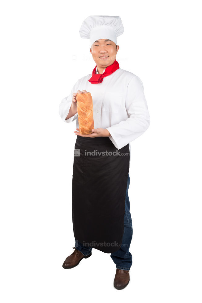 Baker  holds  bread on a white background 2