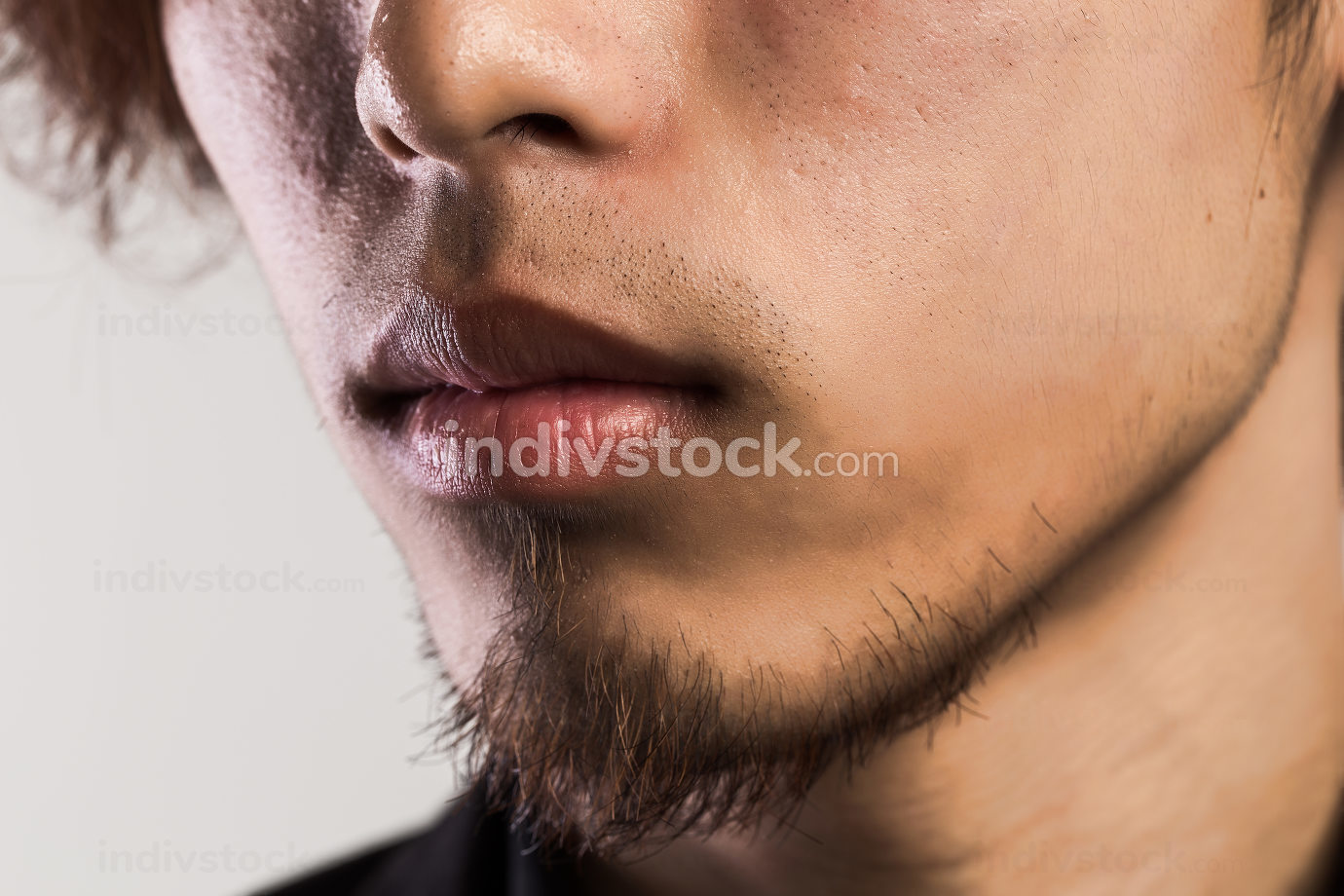Man's mouth and chin close up