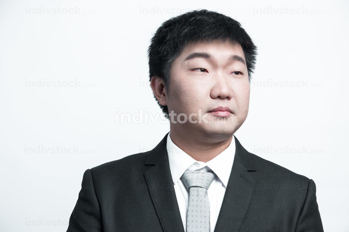 Confident businessman posing sad isolated