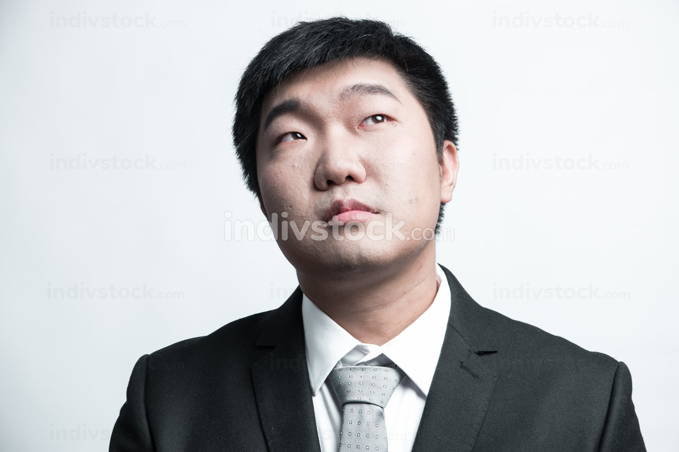 Confident businessman posing sad isolated