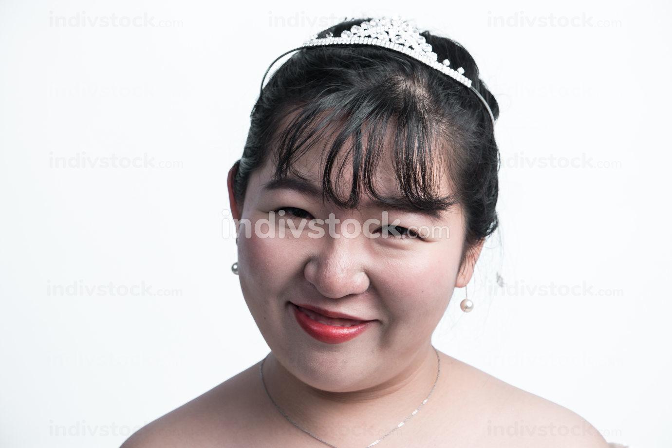 Closeup portrait of young gorgeous bride