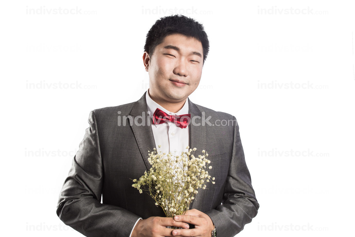man in leather jacket with flower isolated on white