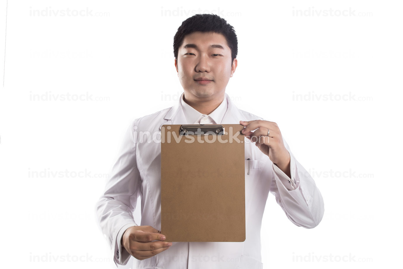 smart medical intern doctor writing on clipboard isolated on white