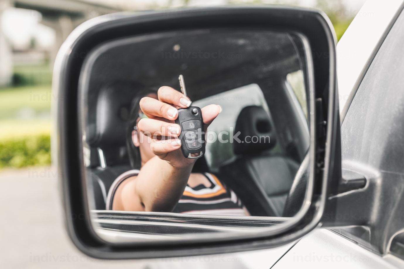 Car key in woman's hand nice shot