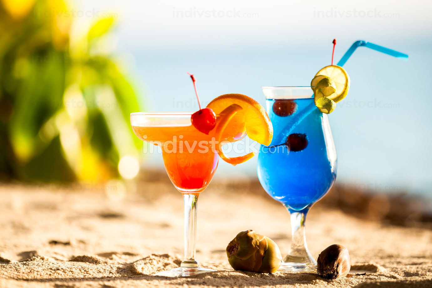 Maldives, colorful cocktails on the beach
