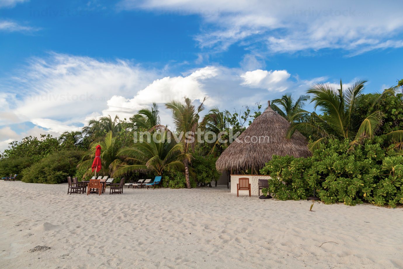 Maldives, tropical paradise, small bar on the beach