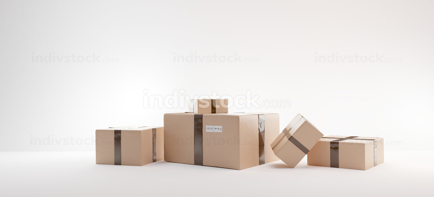 parcel 3d-illustration brown packages typical boxes