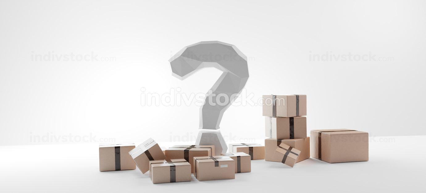 parcel packages 3d-illustration brown typical package design