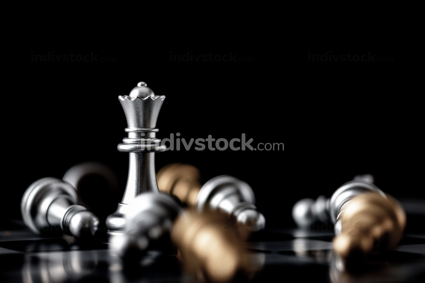 Queen standing in the midst of falling
