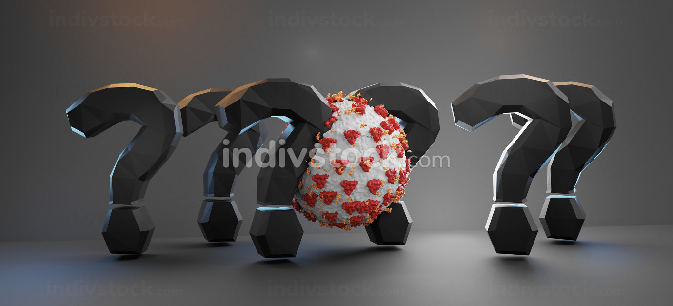 question marks and Covid-19 Corona Virus 3d-illustration