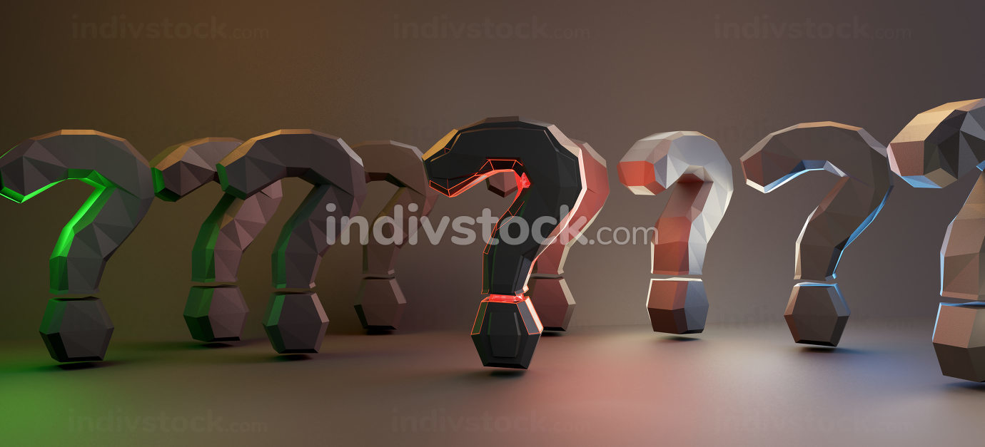 question marks colored lights design background graphic 3d-illus