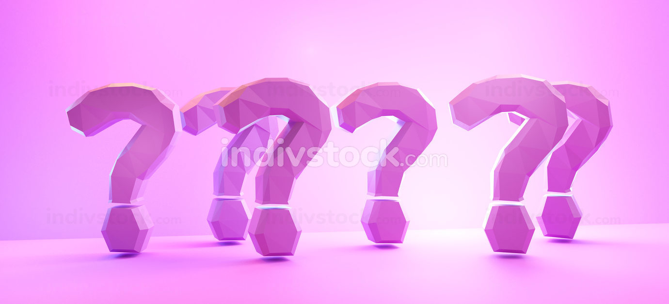 question marks pink purp design background 3d-illustration