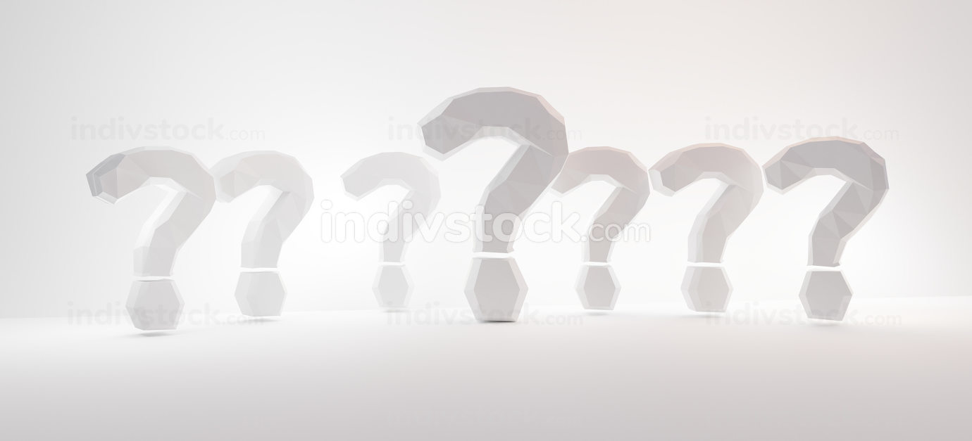 questions marks light grey white background graphic 3d-illustrat