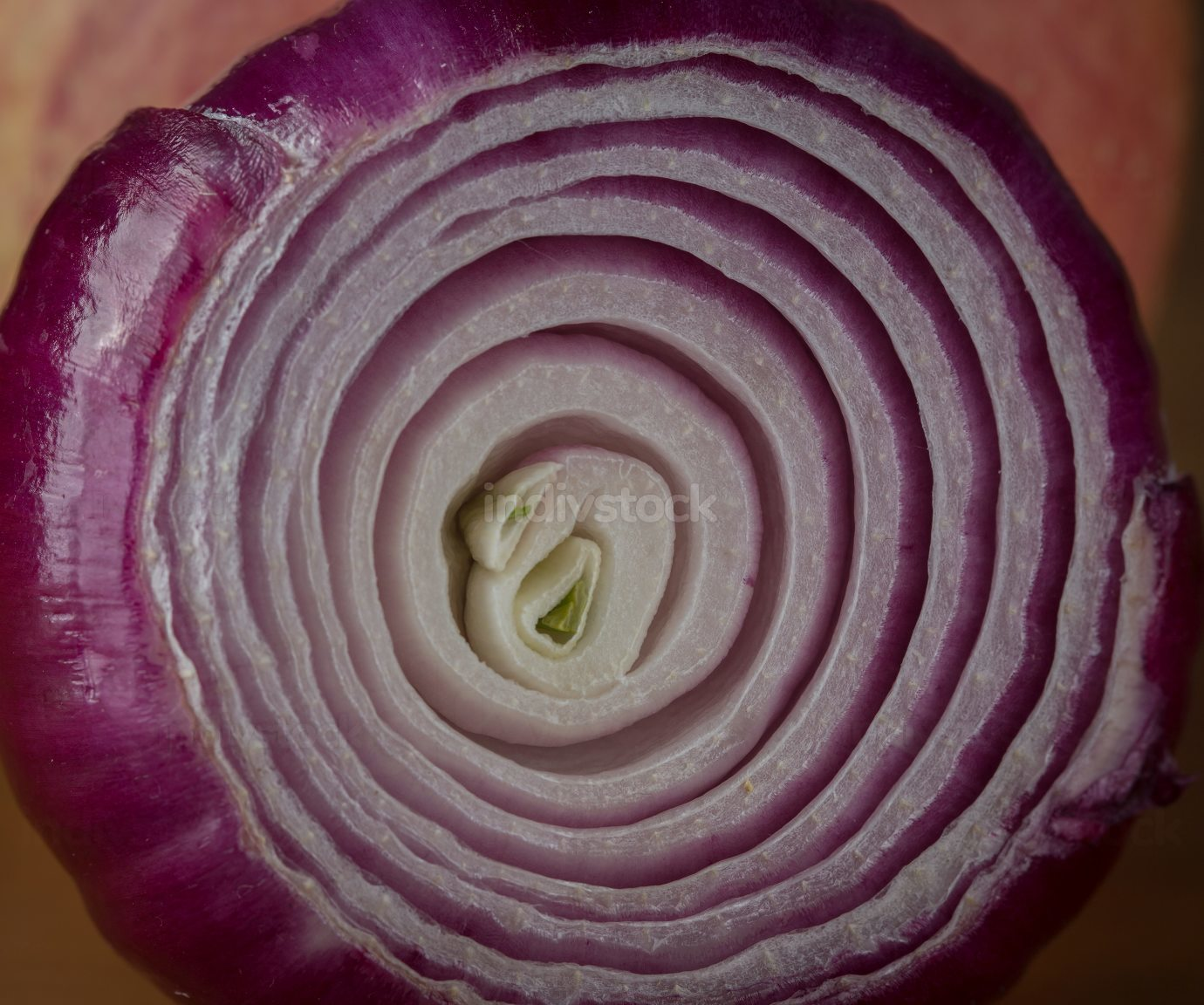 Red onion on wooden table