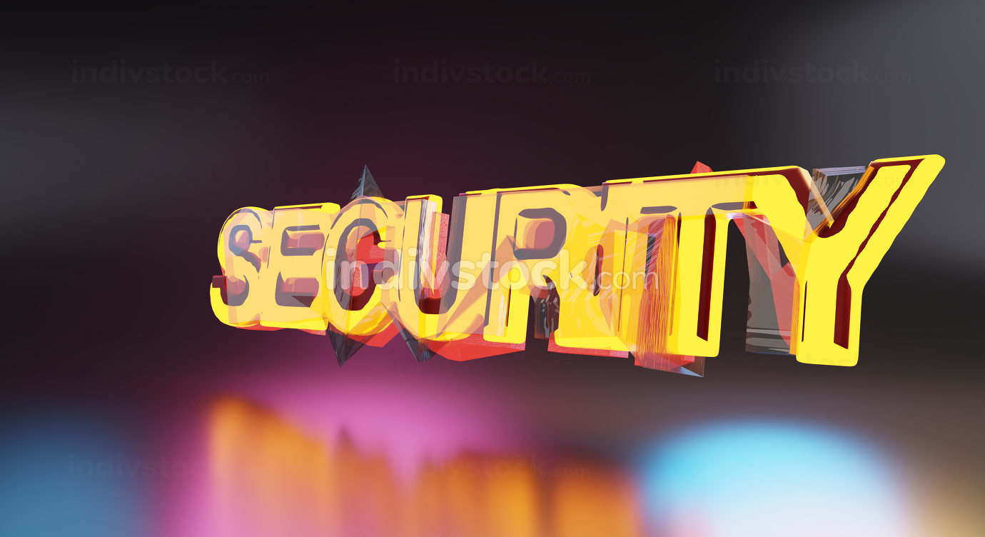 security bold light text 3d-illustration background