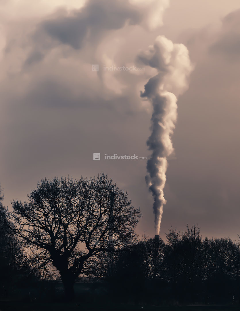 Smoke emission from chimney. Cause of global warming. Conception