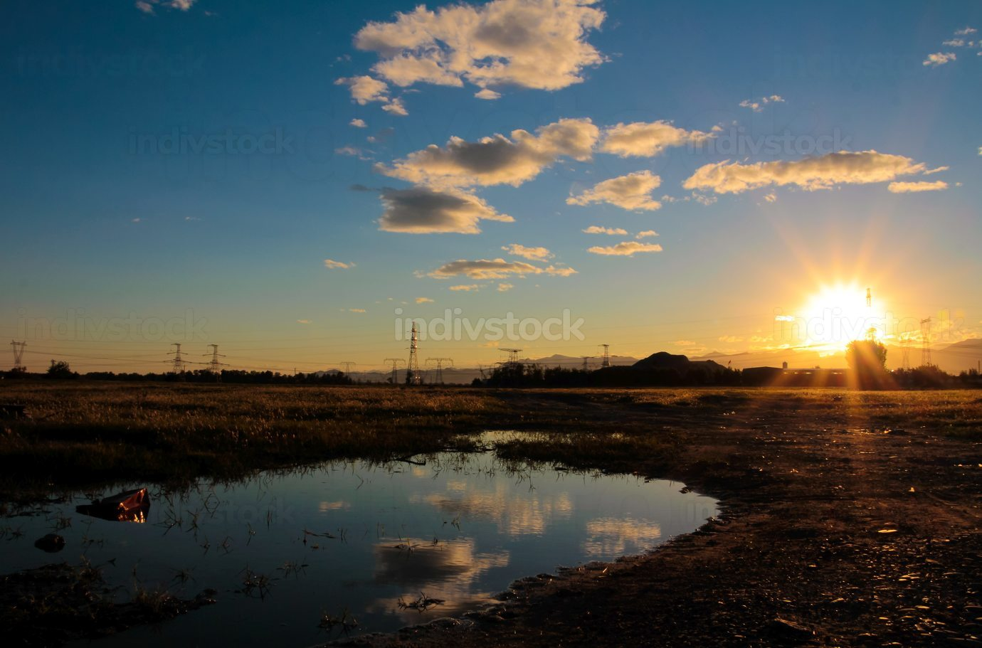 sunset at country side, relax life concept
