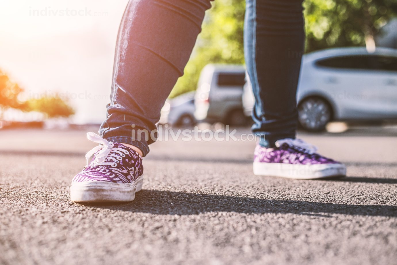 Teen stand in road