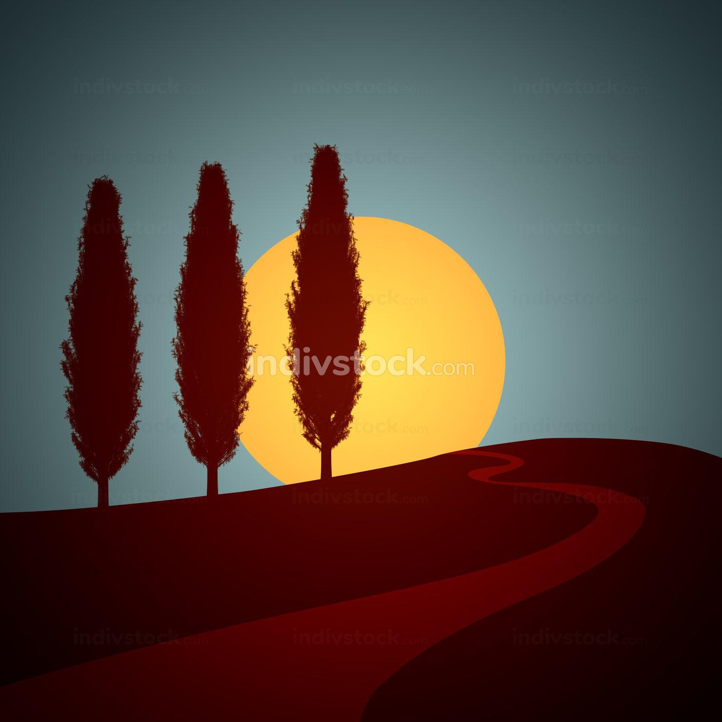 typical Tuscany Italy sunset background