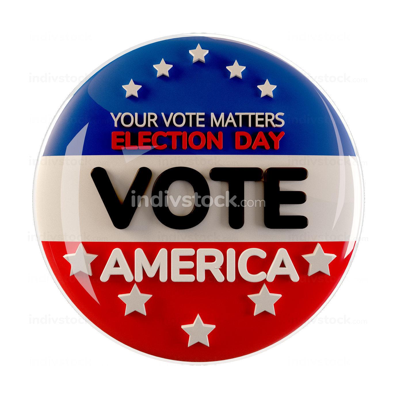 vote 2020 America button icon 3d-illustration