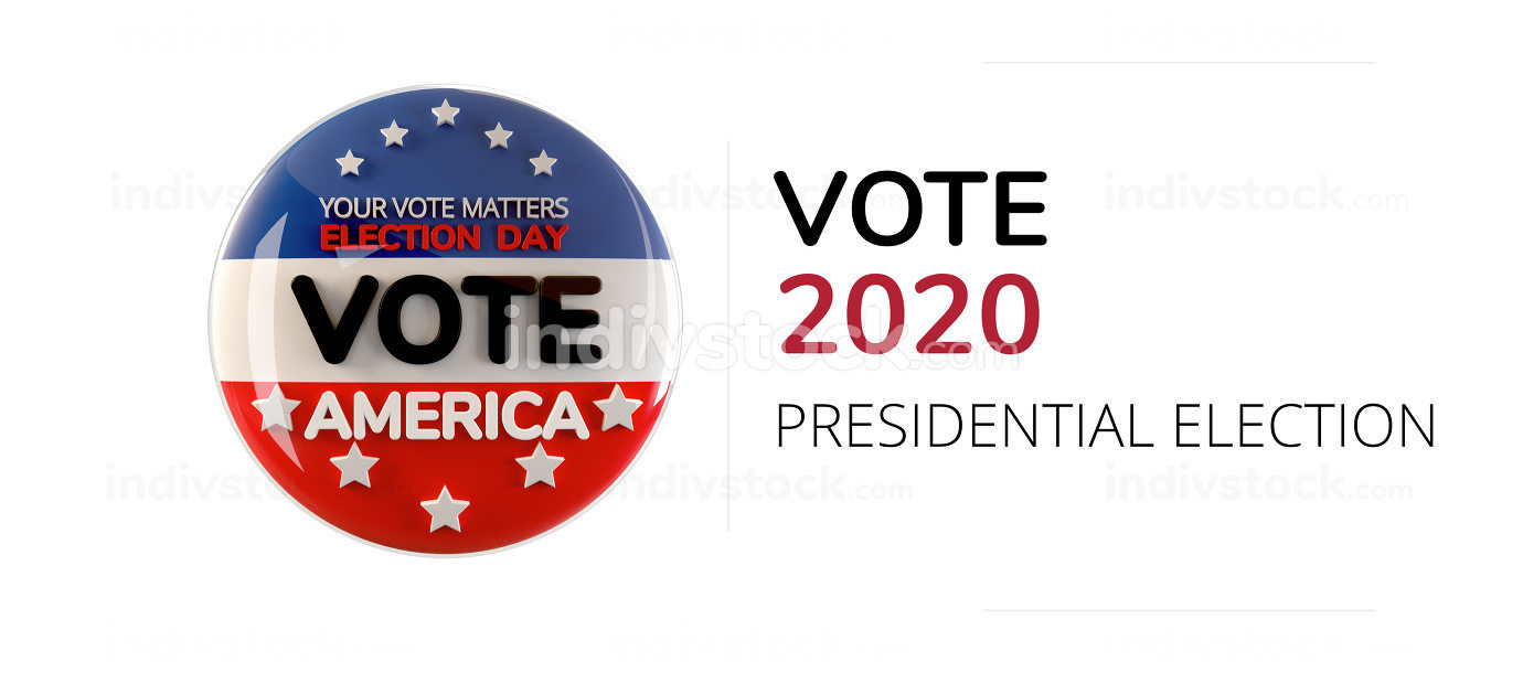 vote 2020 America symbol icon isolated on white 3d-illustration