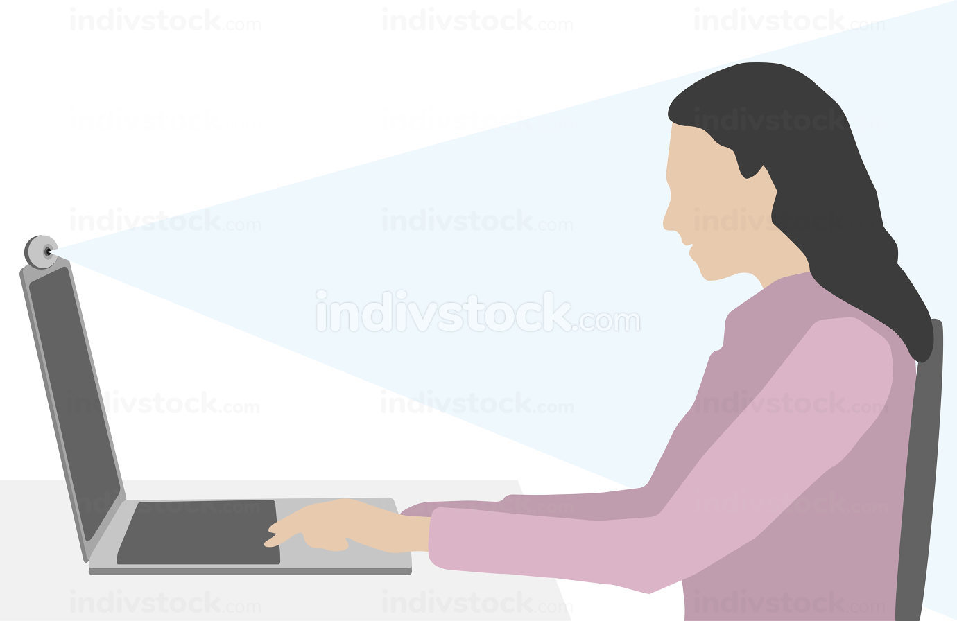woman at the home office video conference