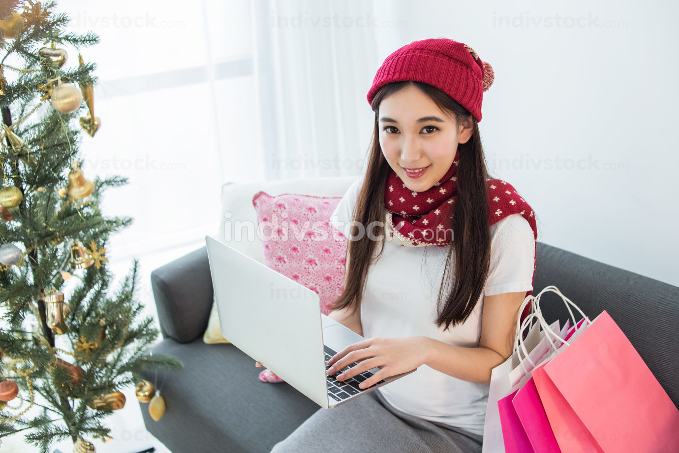 woman use Laptop computer in Christmas