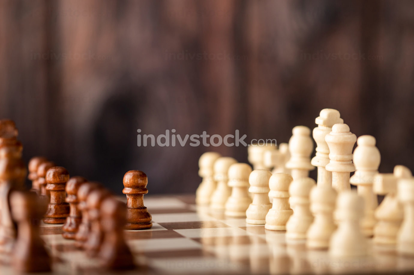 wooden chess endways on the board