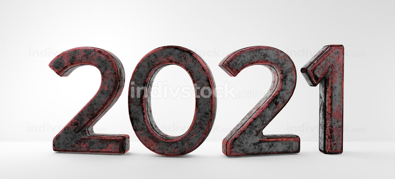 year 2021 old grunge rusty abstract symbol 3d-illustration