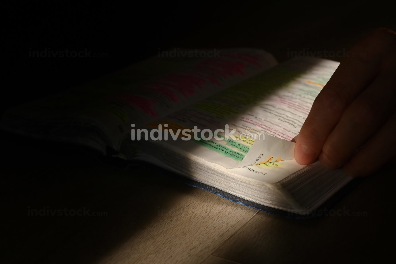 Young man studying hands on the Bible