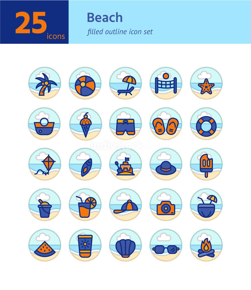 Beach filled outline icon set. Vector and Illustration.
