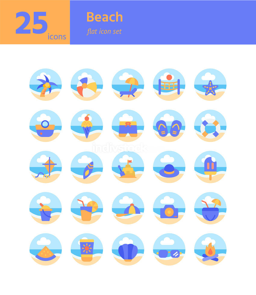 Beach flat icon set. Vector and Illustration.