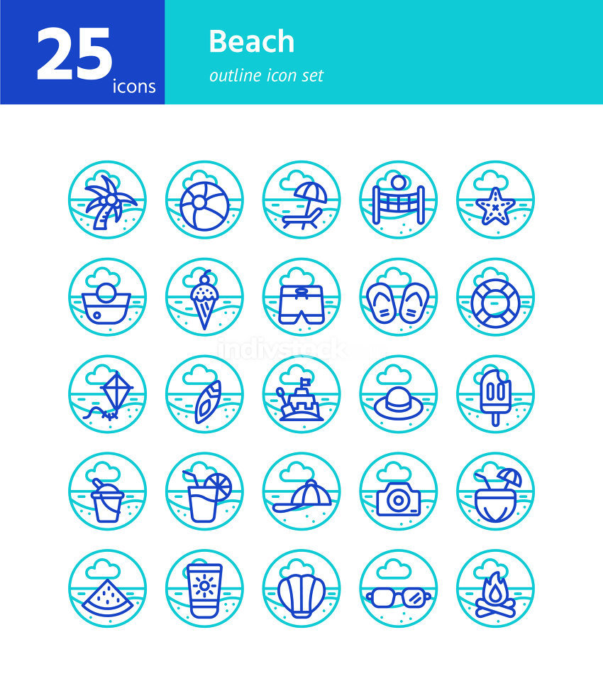 Beach outline icon set. Vector and Illustration.